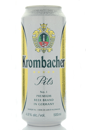 dewed: Krombacher pils  beer isolated on white background