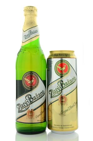 Zlaty Bazant light beer isolated on white background