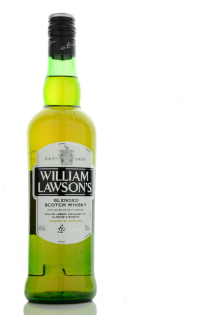 lawson: William Lawsons whisky isolated on white background.