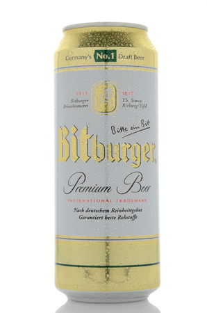 Bitburger premium beer isolated on white background. Editorial