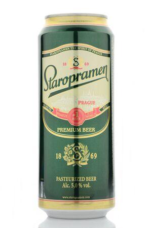Staropramen premium beer isolated on white background Editorial