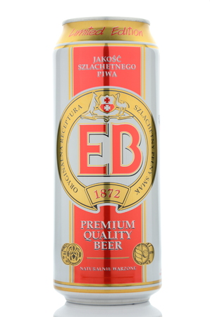 dewed: EB premium quality beer isolated on white background Editorial