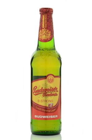 budvar: Strong lager Budweiser beer isolated on white background