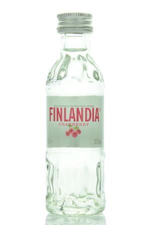 flavored: Finland natural flavored vodka isolated on white background Editorial