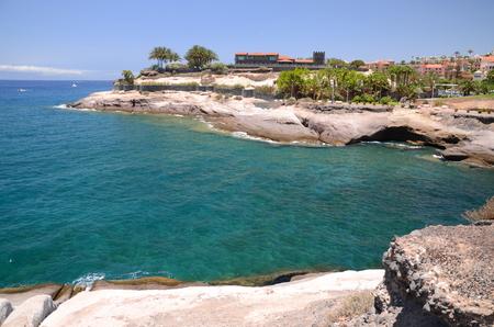 adeje: Scenic coastal landscape of volcanic rocks in Costa Adeje on Tenerife, Spain