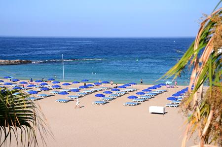 vistas: Beautiful sandy Playa de las Vistas in Los Cristianos on Tenerife, Spain