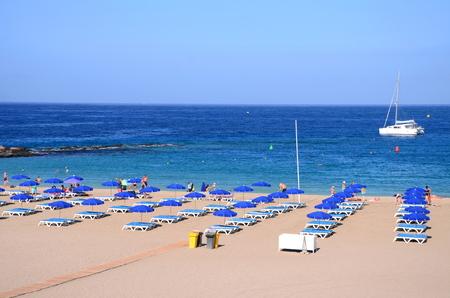 las vistas: Beautiful sandy Playa de las Vistas in Los Cristianos on Tenerife, Spain