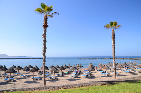 Beautiful sandy Playa del Camison in Playa de las Americas on Tenerife, Spain