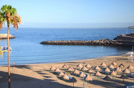 Beautiful sandy Playa de Puerto Colon in Adeje on Tenerife, Spain Stok Fotoğraf