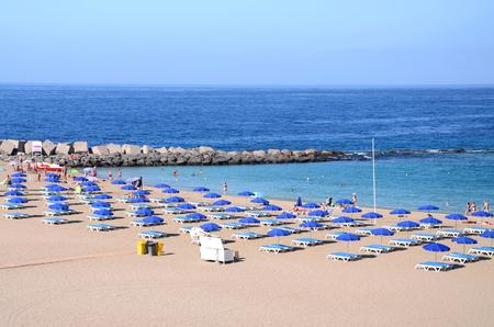vistas: Beautiful Playa de las Vistas in Los Cristianos on Tenerife, Spain