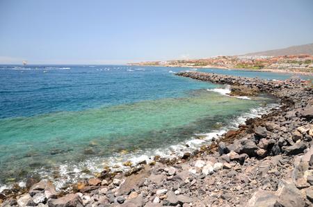 adeje: Beautiful sandy Playa de Torviscas in Adeje on Tenerife, Spain