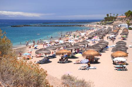 adeje: Gorgeous azure sandy Playa del Duque in Adeje on Tenerife, Spain