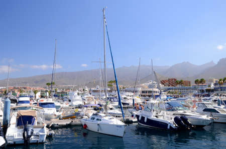 adeje: Boats and yachts in Puerto Colon yacht club in Costa Adeje on Tenerife island. Editorial