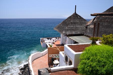 adeje: Picturesque beach club in Costa Adeje on Tenerife, Spain Stock Photo