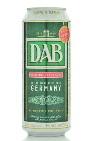 dewed: DAB beer isolated on white background. Dortmunder Actien Editorial