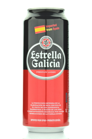 Estrella Galicia pale lager beer isolated on white background Editorial