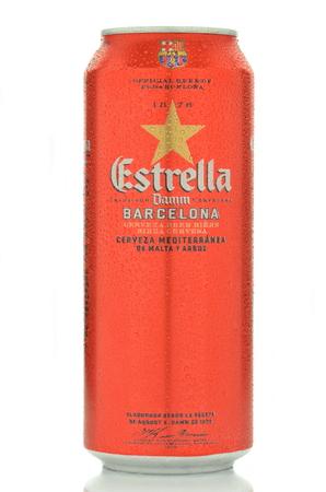 pilsner: Estrella Damm pilsner beer isolated on white background