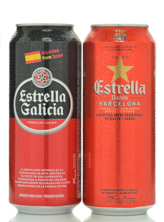pilsner: Estrella Damm Estrella Galicia pilsner and pale lager beer isolated on white background Editorial