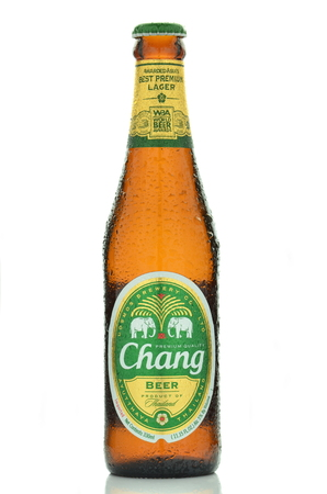 chang: Chang lager beer isolated on white background Editorial