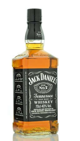 bottle of jack daniels whiskey isolated on white background stock