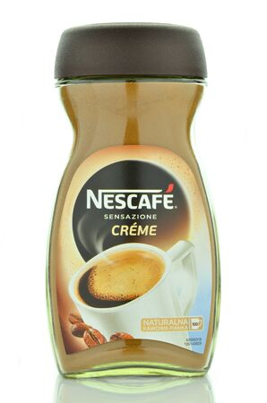 nestle: Nescafe creme instant coffee isolated on white background