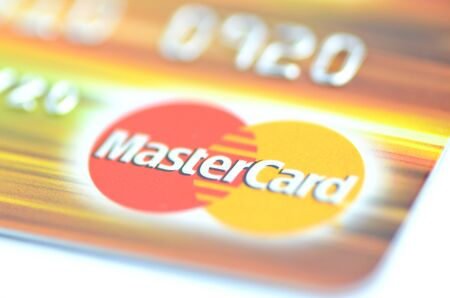 Closeup of MasterCard debit card isolated on white background