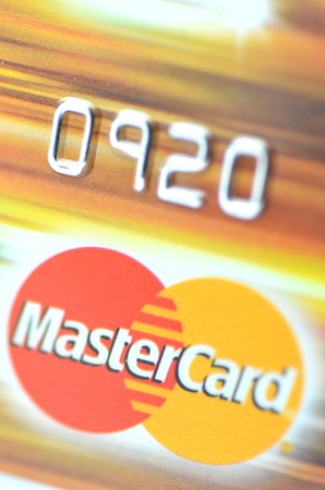 debit: Closeup of MasterCard debit card isolated on white background