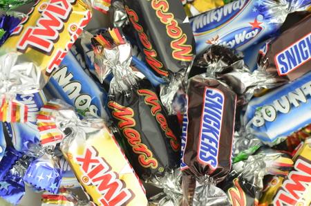 Closeup of Snickers, Mars, Bounty, Milky Way,Twix candies