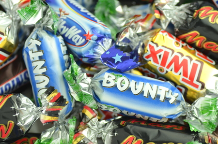bounty: Closeup of Snickers, Mars, Bounty, Milky Way,Twix candies