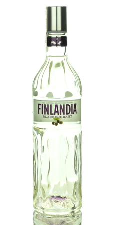 flavoured: Finlandia blackcurrant natural flavoured vodka isolated on white background