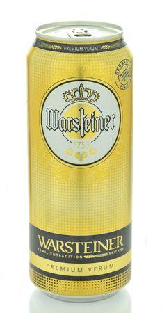 dewed: Warsteiner beer isolated on white background Editorial