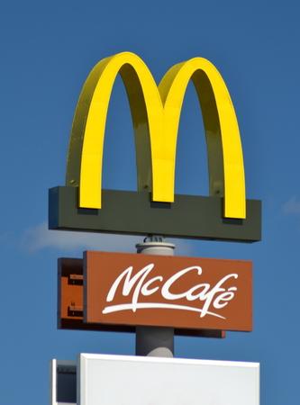 macdonald: Sign of McDonalds  against blue sky