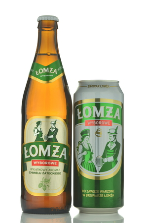 Lomza sniper beer isolated on white background Editorial
