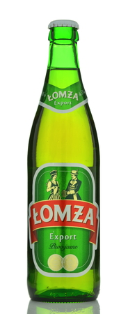 Lomza export beer isolated on white background
