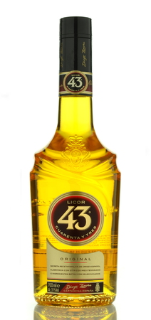 booze: Licor 43 isolated on white background Editorial