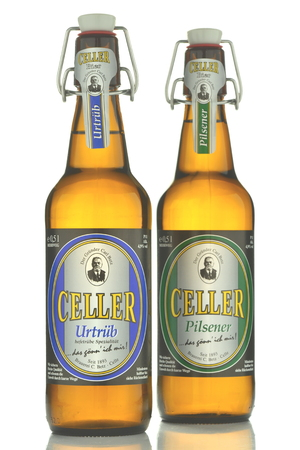 pilsener: Celler and urtrub pilsener beer isolated on white background