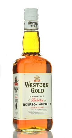 Western Gold bourbon whiskey isolated on white background