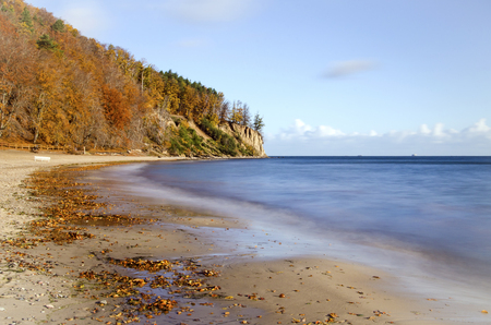 picturesque landscape of cliff in gdynia Orlowo on baltic sea in Poland in the autumn Stock Photo