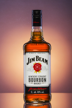 Jim Beam bourbon whiskey on gradient background