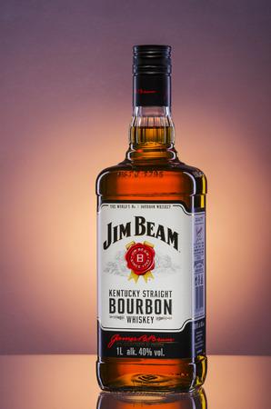 Jim Beam bourbon whiskey on gradient background