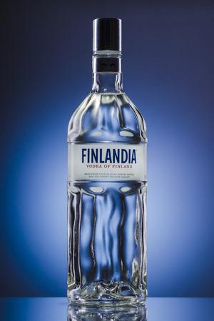 Finland vodka on blue background
