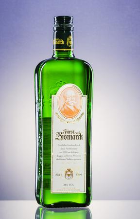 Furst Bismarck vodka on gradient background.