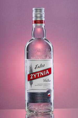 Extra Vodka on gradient background. Editorial