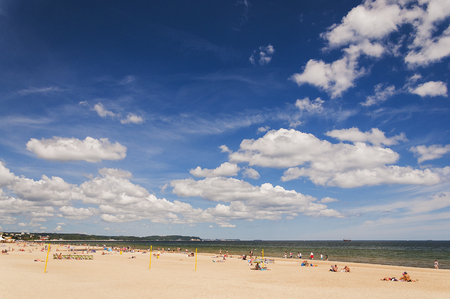 picturesque: Picturesque landscape of baltic sunny beach in gdansk olive oil in the summer, poland Stock Photo