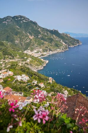 Impressive gorgeous view of the town of Amalfi coast, Italy