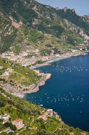 Impressive gorgeous view of the town of Amalfi coast, Italy