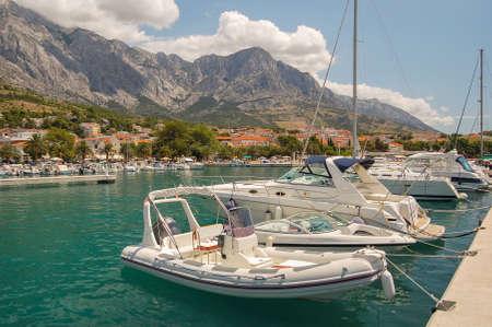 Gorgeous view of the marina in dalmatian Baska Voda, Croatia Stock Photo