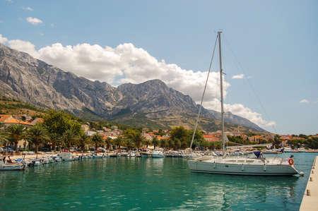 Gorgeous view of the marina in dalmatian Baska Voda, Croatia Stock fotó