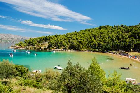 Picturesque landscape of sandy Lovrecina beach on Brac island, Croatia