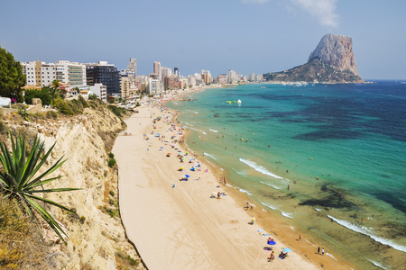 Picturesque landscape of sandy beach in Calpe, Spain